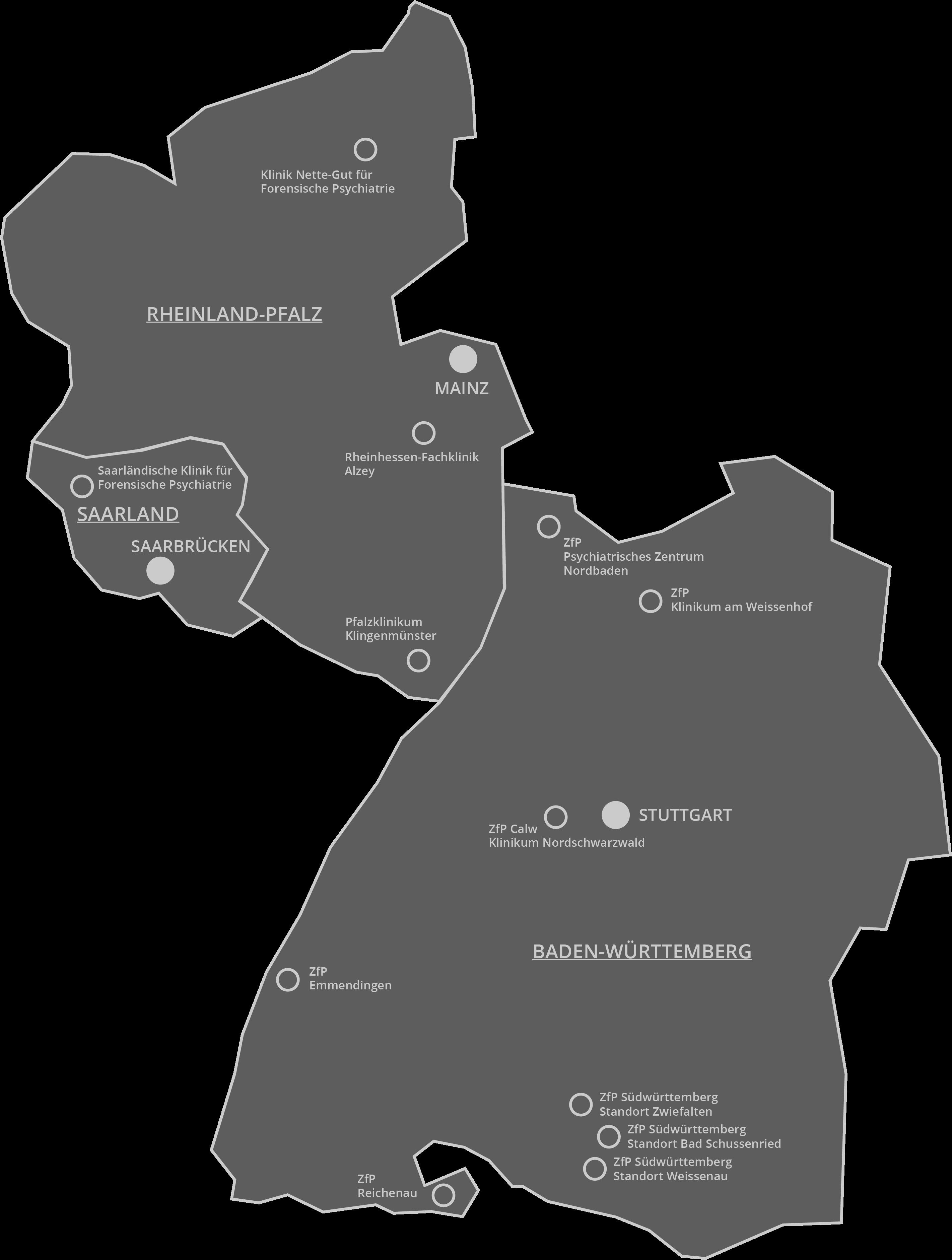 Karte Baden Württemberg Rheinland Pfalz.Standorte Forensik Transparent
